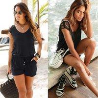 بلا أكمام قصيرة السروال القصير إمرأة بذلة الصيف السراويل السوداء ارتداءها الشاطئ playsuit المابلات جيوب الملابس زائد الحجم S-2XL