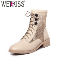 Boots WETKISS Big Size Women Ankle Cross Tied Rivets Army Booties Mesh Chunky Heels Shoes Woman Platform Dress Ladies