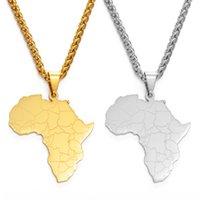 Yutong Anniyo Afrika Karte Anhänger Halsketten für Frauen Männer Silber Farbe / Gold Farbe Afrikanische Hip Hop Schmuck Hochzeitsfeier-Geschenk # 160621