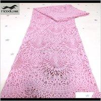 Kleidung Kleidung Guipure Afrikanische Spitzegewebe Rosa Farbe Wasser lösliche Schnur Schnürsenkel für Nigerianische Parteikleid Drop Lieferung 2021 30WXA