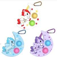 Stock Fidget Sensory Push Bubble Bubble Rainbow Poty Mochila Mochila Colgante Llavero Juego Ansiedad Estrés Reliever Kids Adultos Autismo Necesita regalos de cumpleaños