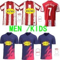 21/22 João Félix Atlético Futebol Jerseys de Madrid 2021 Suarez Correa Koke Dembélé Carrasco M.Llorente Homens Kit Kit Football Jersey