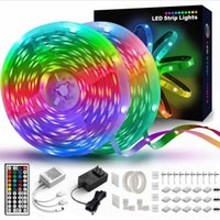 Strips 5M-15M Waterproof LED Strip Lights 44 Keys Remote Control 2835 Light With Controller+4 Types Adapter