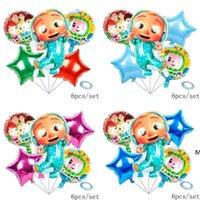 6 قطعة / الحقيبة الكرتون الملحقات cocomelon جي الألومنيوم السينمائي بالونات ستة قطعة مجموعات مزدوجة الوجهين الاطفال عيد ميلاد حزب بالون dhf6010