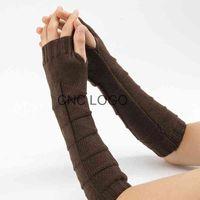 New Wool Half Finger Gloves Men Knitted Warm Fingerless Long Knit Mitten Solid Color Fashion Women Arm Warmers