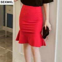 SEXMKL Women Skirts Plus Size Elegent Summer Midi Pencil Long High Waist Office Lady Sexy Red Skirt Femme Jupe Falda 210610