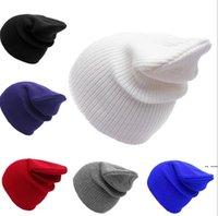 القبعات التريكو اللون نقي الشتاء الصوف الجمجمة قبعات الهيب هوب الكروشيه تزلج كاب أزياء قبعة أغطية الرأس الفضفاضة تمتد مكتنزة الرأس HWC7587