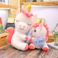 1 ADET 35/50 CM Kawaii Holding Yıldız Unicorn Peluş Oyuncaklar Dev Dolması Hayvanlar At Oyuncaklar Çocuklar Için Yumuşak Bebek Lover Doğum Günü Hediyeleri