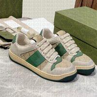 50% Rabatt auf Top-Qualität Beliebte Designer Schuhe für Männer Frauen Screener Leder Vintage Distressed Green Red Stripe Bottom Beiläufige Weiße Luxus Trendy Turnschuhe mit Box 35-46
