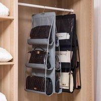 Storage Bags Pocket Hanging Handbag Organizer For Wardrobe Closet Transparent Bag Door Wall Clear Sundry Shoe With Hanger Pouch