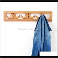 Hooks Rails Stockage Organisation Maison de ménage Jardin Drop Livraison 2021 Moderne Minimaliste Salon en bois Salon de décoration murale Chapeau de cintre Hoo