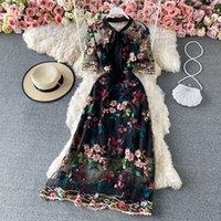 2021 İlkbahar Yaz Retro Mahkemesi Tarzı Işlemeli Yüksek Yuvarlak Boyun Ince Moda Lüks Kadınsı Kadın Elbiseler Parti Vestidos Dantel Siyah