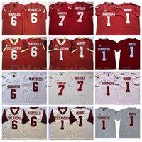 NCAA Football Oklahoma Sooners Koleji 1 Kyler Murray Jersey Jalen 6 Baker Mayfield 7 Spencer Rattler Kırmızı Beyaz Dikişli Big 12 XII