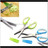 Fruit Vegetable Kitchen Dining Bar Home Garden Drop Delivery 2021 5 Layers Cutter Shears For Cutting Green Scissors Onion Chopper Slicer Kitc