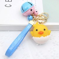 Cute LED Cock Luxury Keychain Key Chain Learther Rope Bells Key Ring Holder Keyring Car Porte Clef Gift Women Bag Charm Pendant
