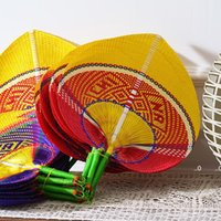 6 Colors New Fashion Chinese Style Handmade Straw Fan Hand-woven palm leaf Hand fan Summer cooling Mosquito repellent Hand Fans LLD11168