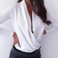 Women's T-Shirt 2021 Est Plus Size Sexy Women Autumn Long Sleeve Cross Deep V Neck Solid Color Top