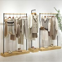 Light retro clothing store display rack landing in the middle island women's cloth shop shelf cotton linen clothes hanger show props
