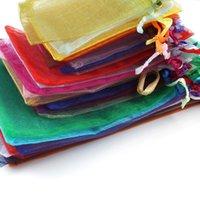 2021 50pcs / lot 5x7cm 7x9cm 9x12cm 10x15cm cordón bolsa de organza bolsas de joyería bolsas de envases de caramelo bolsas de boda al por mayor regalos bolsas
