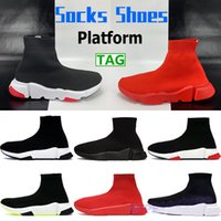 2021 Männer Frauen Platform Socken Schuhe Triple Red Black White Green Mode Herrenschuh Chaussures Stretch Knit Sneaker Stylist Trainer US 6-12