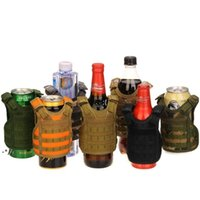 New7 컬러 미니 전술 조끼 야외 몰리 조끼 와인 병 커버 음료 쿨러 조정 가능한 Drinkware 핸들 RRA9192