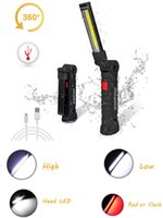 Flashlights Torches COB LED Magnetic Lanterna Hanging Lamp For Night Lighting Rechargeable USB Torch Waterproof Work Folding Light Flashligh