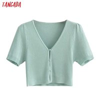 Tangada Women Green Crop Cardigan Vintage Jumper Short Style Summer Knitted Cardigan Coat AI72 210609