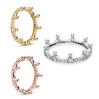 Authentic 925 Sterling Silver Enchanted Queen Crown CZ Crystal European Original Ring For Women DIY Jewelry