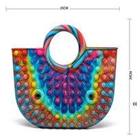 Handbag Push Bubble Fidget Toy Party Favor 35*30cm Totes Creative Storage Bag Rainbow Silicone Stress Reliever Sensory Toys DHD8935