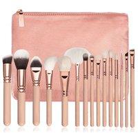 In stock high quality Makeup Brush 15PCS Set Brush With PU Bag Professional Brush For Powder Foundation Blush Eyeshadow