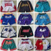 Pantalones cortos de baloncesto del equipo de los hombres solo Don Short Sport Wear Pantalón con cremallera de bolsillo Sweetpants Hip pop azul blanco negro rojo cosido de buena calidad S-XXXL