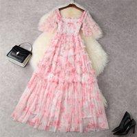 Two Piece Dress Runway summer enchanting sweet pink luxury ruffle mesh long dress wedding party girl turtleneck elastic square maxi robe J99L