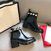 2021 Дамы короткие сапоги классические пчелы женщины кожаные на высоком каблуке мода мода бриллианты леди толстые каблуки обувь