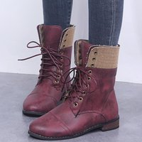 Boots Leather Women Ankle Motocycle Female Shoes Autumn Lace Up Winter Thicken Warm Motorcycle 2021
