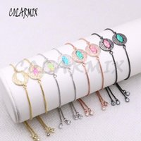 Charm Bracelets Wholesale Jewelry Round Bracelet Eyes With Opal Stone Mix Color Metal Chain Gift For Lady 4299