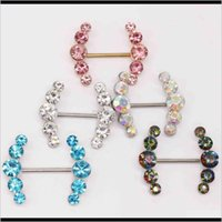 Nipple Rings Body Drop Delivery 2021 Human Nail Piercing Jewelry Double-Layer Inlaid Diamond Love Breast Ring 25Vdr