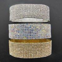 10 Reihen Kristall Strass Fußklets Silber überzogene und vergoldete Fußkette AB Stein Elastische Stretchfrauen Barfuß Sandale Knöchelarmbänder