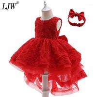 소녀의 드레스 LJW 유아 아기 소녀 레이스 공주 드레스 1 년 생일 침례 파티 태어난 된 옷 6-36 Month1