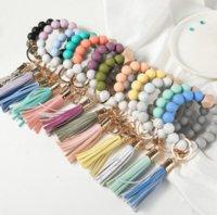 14 Colors Wooden Tassel Bead String Bracelet Keychain Food Grade Silicone Beads Bracelets Women Girl Key Ring Wrist Strap db961