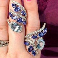 شخصية الإبداعية الأزرق الزركون الدائري أنثى الياقوت المياه قطرة كريستال خاتم حلقات الزفاف مجموعة لمشاركة النساء الزفاف