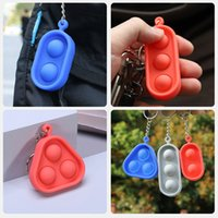 Fidget Toys Sensory Jewelry Key Chains Push Bubble Cartoon Simple Dimple Toy Bag Pendants Keychain Stress Reliever Keychains Decompression Gifts