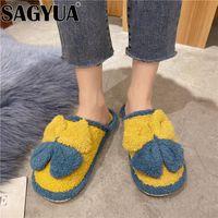 Slippers Short Plush Flats Women Boots Plus Size Fur Cotton 2021 Bow Warm Shoes Designer Winter Dress Casual Flip Flops