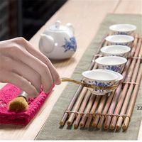 Conjunto de chá de bambu natural Cerimónia Gentlemen Bandeja de chá conjunto de cerimônia acessórios de chá clipe de chá colher de chá de ferramenta hwe9473
