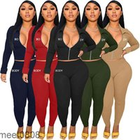 Women Designers Clothes Body Letters Long Sleeve lapel Zipper Jacket Pants Embroidery Two Pieces Outfits Sports Suits meet0808