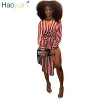 Casual Dresses HAOYUAN Sexy Striped Shirt Dress With Sashes Side High Slit Red Women Clothes Summer Sundress V-Neck Long Sleeve