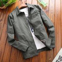 Printemps Mens Fashion Zipper Jacket Classic Casual Manteaux minces 100% coton Loable Couleur Loable Couleur Mens Vêtements Tops L-4XL Men's Jackke