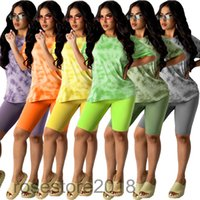 Women tracksuit summer new Designer Fashion women's tie dye printing leisure home two piece sets Short sleeve Shorts Slim casual Outfits