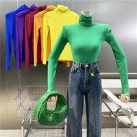 Women's Sweaters Brand Original Design Light Color Thin High Elastic Long Sleeve Inner T-shirt 2021Versatile Pile Neck Pullover Slim Top