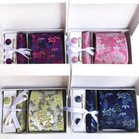 Paisley Blumen Krawatten für Männer Hals Tiepocket SquarescufflinkStie Clips Sets 8cm Silk Herren Krawatte Hochzeit Zubehör A014