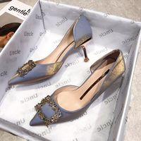 Bjyl 2020 봄 새로운 여성 신부 신발 웨딩 신발 가짜 실크 새틴 라인 석 크리스탈 여자 펌프 스틸 레토 사 사토 feminino